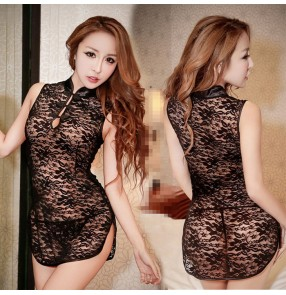 Black women's ladies lace see through lingerie temptation sexy night club bar sleeping dress cheongsam costumes