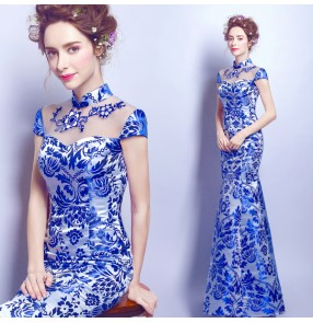 Blue and white chinese style mermaid women's wedding evening party bridals performance long cheongsam dresses vestidos