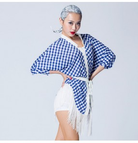 Blue and white velvet patchwork plaid fringes black women's ladies female batwing sleeves competition performance latin salsa dance tops blouses dresses outfits