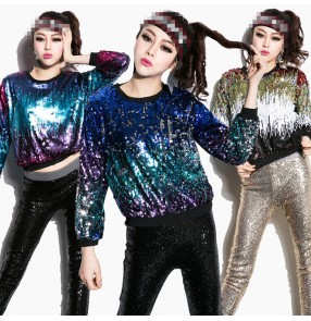 Blue gold gradient colored long sleeves round neck competition girls women's jazz singer hip hop modern dance tops shirts