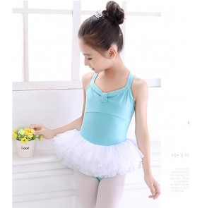 Blue light pink turquoise tutu skirt leotards baby girls kids children practice exercises gymnastics performance ballet dance dresses costumes