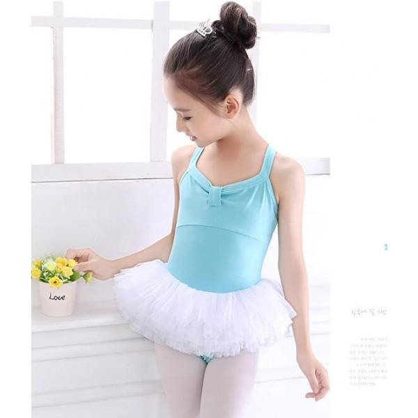 Girls Ballet Dance Dress Tutu Skirt Children Cotton Leotard Gymnastics Costume