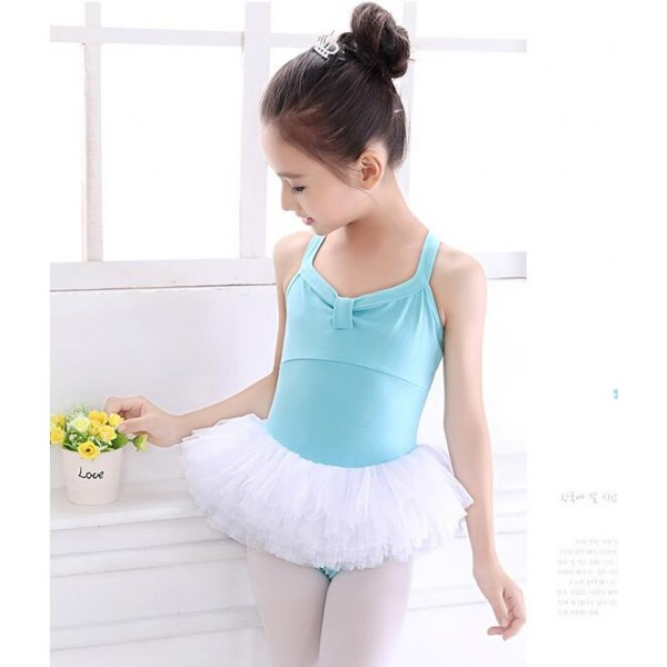 Blue Light Pink Turquoise Tutu Skirt Leotards Baby Girls Kids Children Practice Exercises Gymnastics Performance Ballet Dance Dresses Costumes