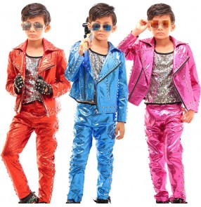Blue red fuchsia hot pink sequins paillette fashion boys kids children jazz hip hop singer drummer performance cosplay dance costumes outfits