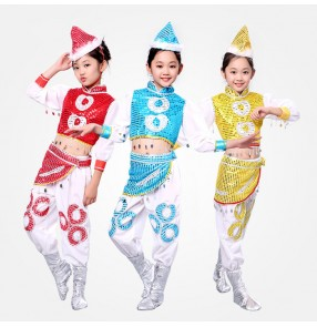 Blue red gold sequins paillette girls kids children modern dance Mongolian dance cosplay performance jazz dancing outfits costumes