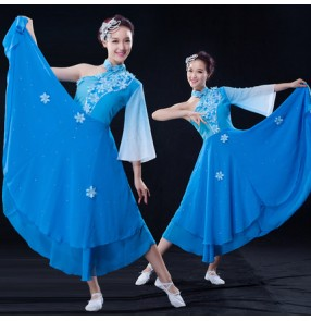 Blue turquoise gradient colored one shoulder sleeves women's ladies Chinese folk dancing fan Yangko traditional singers performance dancing dresses outfits