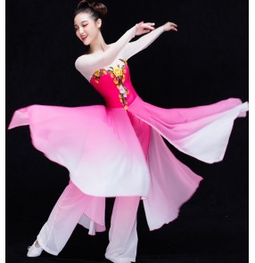 Blue turquoise hot pink fuchsia green gradient colored women's ladies ancient Chinese folk yangko Fan traditional stage performance outfits costumes