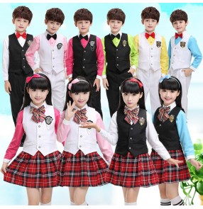 Blue turquoise hot pink fuchsia white girls boys kids children kindergarten England style performance chorus school uniforms Dresses outfits