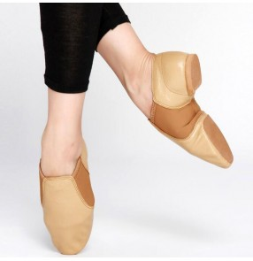 Brown black genuine leather soft soles women's men's practice teachers exercises ballet jazz dancing shoes