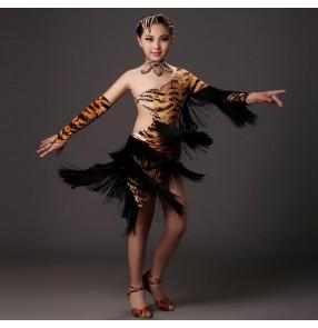 Brown leopard tiger rhinestones backless irregular fringes  backless hem girls kids children competition professional samba latin performance salsa cha cha dresses
