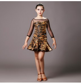 Brown tiger turquoise printed long mesh sleeves backless girls kids children performance competition professional latin ballroom dance dresses outfits
