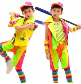 Candy rainbow  leather colored patchwork fashion boys kids children teen student competition stage drummer performance hip hop jazz dance wear clothes