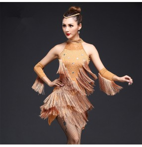 Champagne red black royal blue rhinestones lace fringes sexy competition women's ladies latin salsa cha cha dance dresses