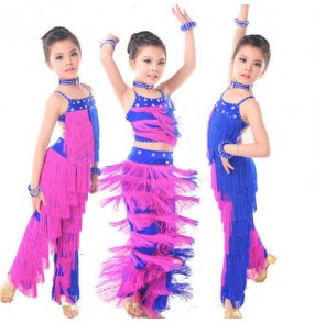 Children girls competition tassels royal blue and fuchsia patchwork latin dance dresses sets top and pants