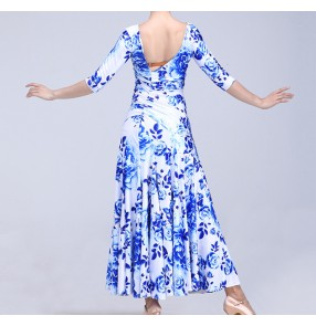 China and white floral printed tiger printed middle long sleeves competition women's ladies professional ballroom waltz tango dance dresses outfits costumes