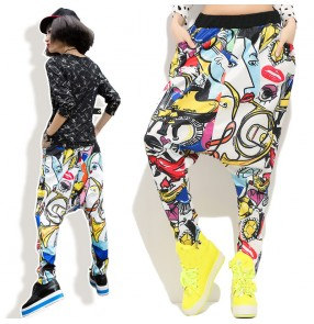 Colorful graffiti printed loose casual fashion baggy women female hip hip dance harem pants performance sweatpants trousers