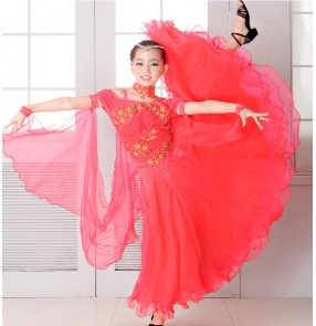 Coral dark green embroidery diamond competition professional girls kids children stage performance long length ballroom tango waltz dancing dresses outfits