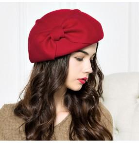 Dark camel khaki red black 100% wool big bow knot vintage fashion women s  ladies England 588798adb15