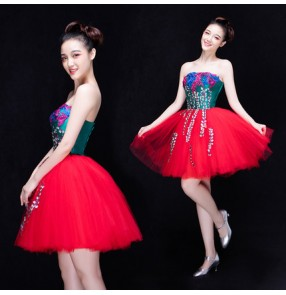 Dark green appliques pattern red puff skirted patchwork women's ladies stage performance singer bar club modern dance evening party dancing dresses