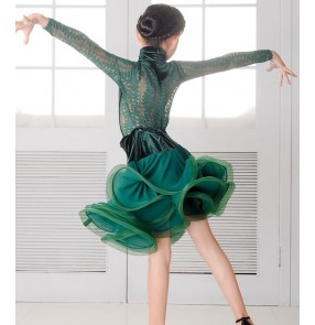 Dark green black velvet lace patchwork long sleeves fashion girls kids children ruffles skirts competition stage performance latin salsa dance dresses outfits