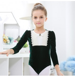 Dark green light pink long sleeves velvet lace patchwork princess girls kids children gymnastics ballet skating dancing leotards tops bodysuits