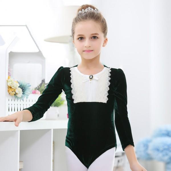 e714d1537 Dark green light pink long sleeves velvet lace patchwork princess girls ...