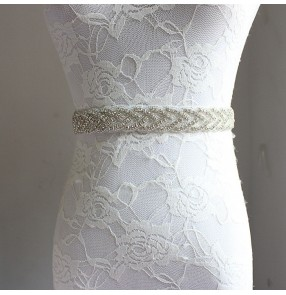 Dark green purple ivory silver white black women's wedding party evening bridals ribbon waist band sashes accessories