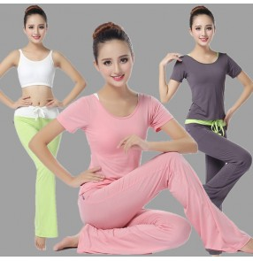 Dark grey black green light pink breathable modal sports women's jogging running yoga fitness gyms costumes clothes top capris vest