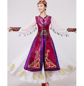 Dark purple white patchwork satin fabric long sleeves women's ladies competition cosplay dancing Mongolian folk dance dresses robes costumes
