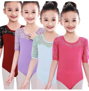 Dark red light blue violet purple fuchsia short sleeves lace gymnastics performance exercises ballet leotards costumes bodysuits