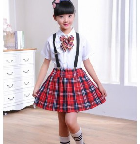 England style red plaid red black skirt white shirt with bow tie girls kids children kindergarten stage chorus dresses performance school play uniforms outfits
