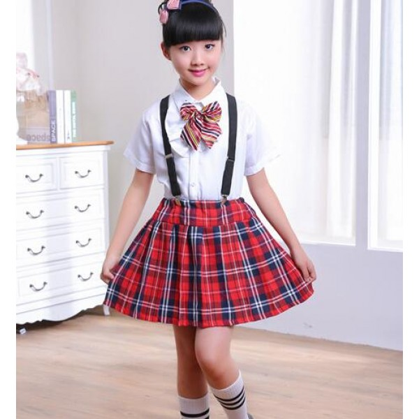 England Style Red Plaid Red Black Skirt White Shirt With Bow Tie