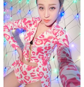 Female printed ds hiphop dance costume Tuxedo tops