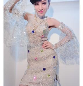 Female silver jazz dance costume dj dance costume