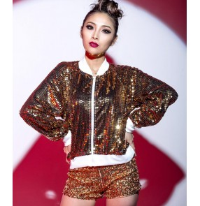 Female silver red royal blue and black hiphop jazz dance costume three top and shorts and coat