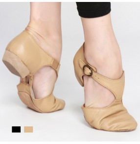 Flesh colored black soft  soles genuine leather women's jazz belly ballet practice gymnastics teachers exercises dancing shoes sandals