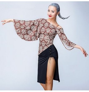 Floral black loose bat wing sleeves inclined shoulder sexy fashion women's girls competition stage performance latin salsa cha dance tops blouses