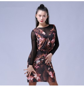 Floral printed black long sleeves see through back competition performance women's ladies professional latin salsa dance dresses outfits