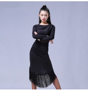 Floral printed black long sleeves tassels women's ladies hollow waistline competition latin salsa cha cha dance dresses outfits