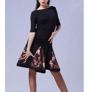 Floral printed patchwork half sleeves backless women's ladies competition performance latin salsa dance dresses outfits