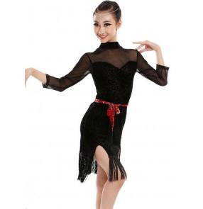 Floral velvet black red fringes girls kids children contest competition latin salsa samba dance dresses outfits costumes