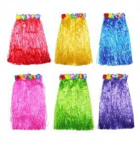 Fringes colored rainbow women's ladies party cosplay stage performance fancy flowers party beach hula grass dance skirts 60cm