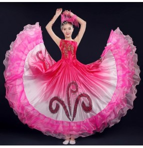 Fuchsia gradient colored flesh patchwork petals women's ladies group dancing chorus spanish flamenco dance dresses
