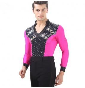Fuchsia hot pink black patchwork rhinestones v neck long sleeves Lycra men's male competition ballroom latin dance shirts tops