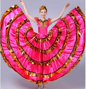 Fuchsia hot pink gold black patchwork big hem women's girls flamenco Spanish folk bull dance big hem dresses outfits Vestido de flamenco
