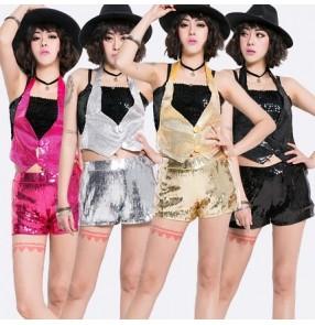 36a80010e0 Fuchsia hot pink gold silver black sexy fashion glitter women s girls  performance dancing jazz singer hip