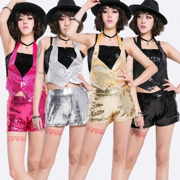 015db18ba893 fuchsia-hot-pink-gold-silver-black-sexy-fashion-glitter-women -s-girls-performance-dancing-jazz-singer-hip-hop-dj-ds-night-club-dance- outfits-costumes-5924- ...