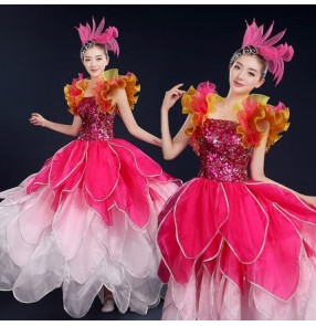 Fuchsia hot pink gradient colored petal sequins paillette modern dance opening dancing women's flamenco spanish bull dance dresses outfits