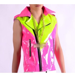 Fuchsia hot pink green candy colored leather fashion boys men's pael collar hip hip jazz singer ds night club dance vests waistcoats