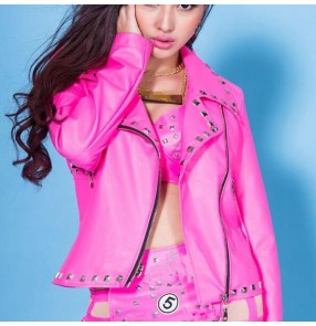 Fuchsia hot pink leather rivet long sleeves lapel collar fashion cosplay stage performance hip hop jazz singer dance jackets coats